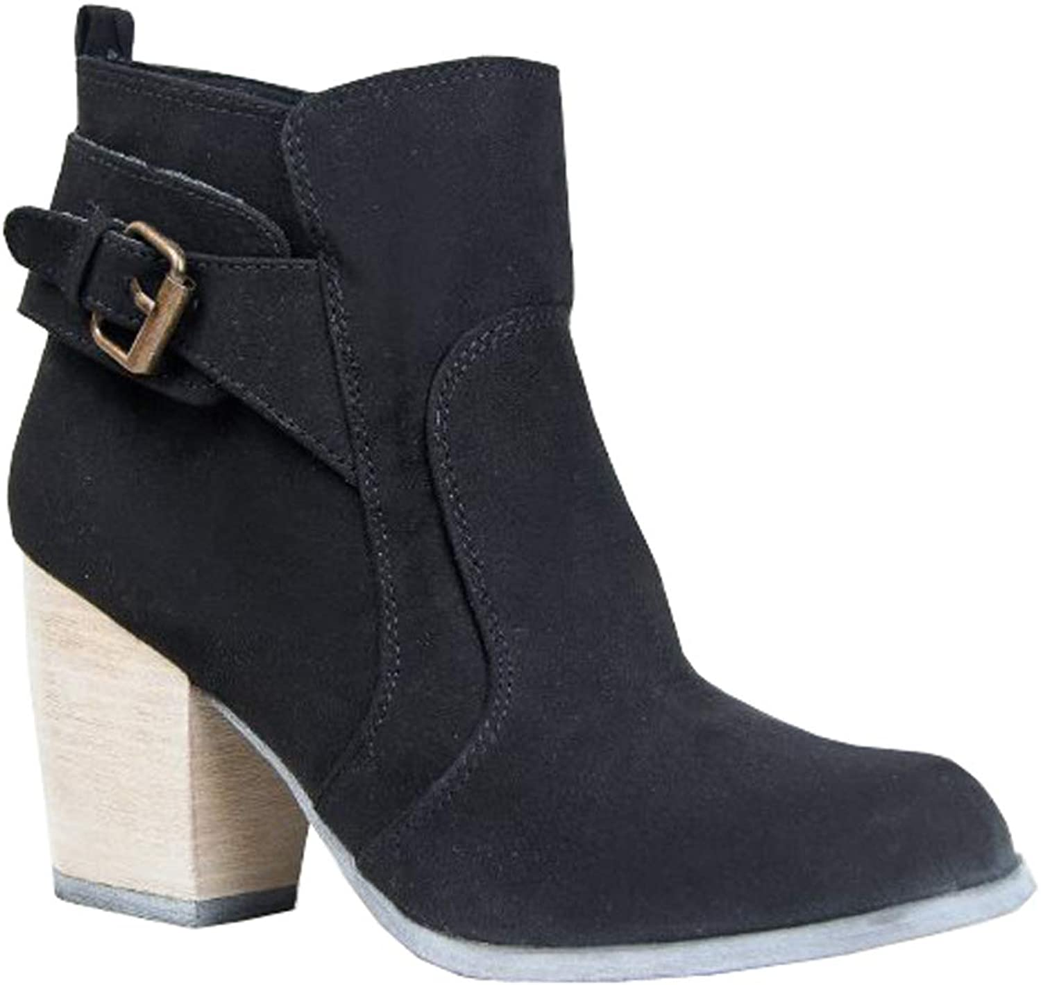 Qupid Maze-09 Buckle Detailed Western Cowboy Inspired Stacked Heel Ankle Boot.