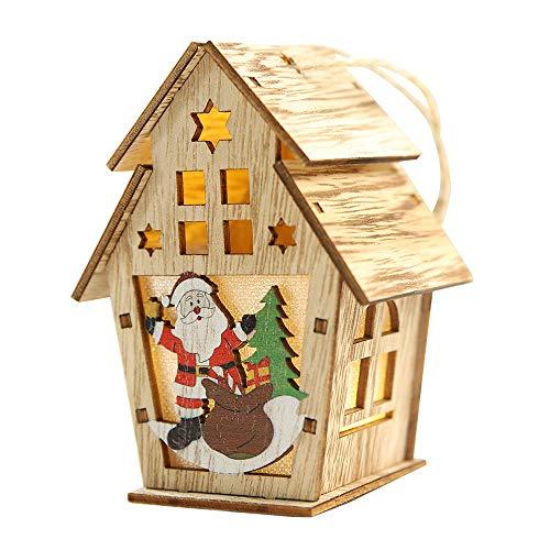 Lixada Navidad Luminosa de Casita de Madera con Dibujo de Santa Claus con Coloridos Leds Chalet de Navidad árbol Adornos Colgantes Festival Regalos
