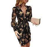 WangsCanis - Mini vestido sexy para mujer, cuello en V, diseño de leopardo, estampado de manga larga de malla Negro XXL