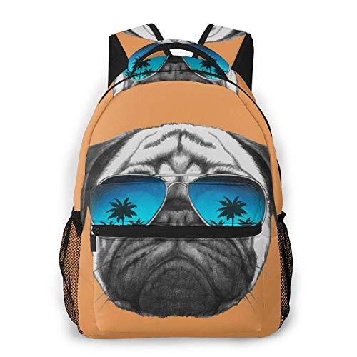 DJNGN Mochila para ordenador portátil, 15.6 pulgadas, elegante mochila escolar, pug perro, gafas de sol de palmera, resistente al agua, casual, día