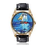 Reloj de Pulsera analógico de Cuarzo con Esfera Dorada y Correa de Piel para Hombre y Mujer, diseño de Barco en Horizon