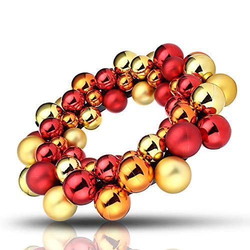 DHTOMC Guirnalda de bolas de Navidad artificiales para colgar en la ventana, decoración del hogar, color rojo y dorado, morado para ventanas de pared (tamaño: un tamaño; color: dorado)