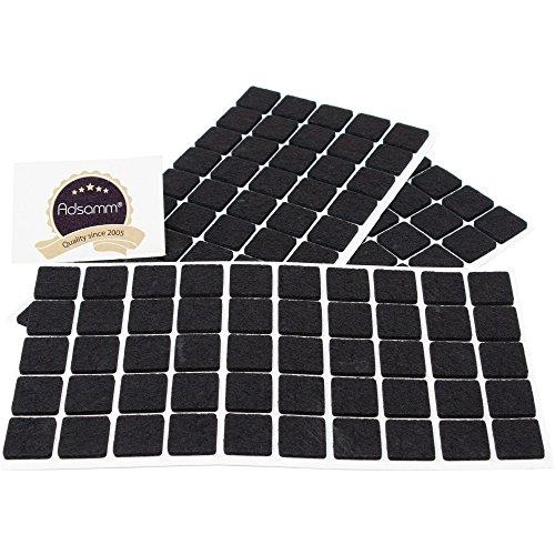 Adsamm® | 150 x almohadillas de fieltro | 20x20 mm | negro | cuadrado | Protectores de suelo para patas de mueble | auto-adhesivos | con grosor de 3,5 mm de la máxima calidad