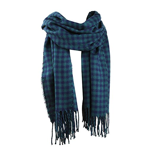 SOJOS Womens Plaid Scarf Large Long Blanket Check Wrap Shawl with Tassel SC315 with Green&Blue Plaid