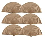 Salutto 6Pcs Folding Paper Hand Fan Bamboo Handheld Dancing Wedding Gift Party...