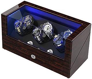 TRIPLE TREE - Soporte para relojes automáticos Rolex con almohadillas suaves y flexibles, carcasa de madera, alimentado por motor japonés, LED azul integrado iluminado, con cable USB para alimentación portátil