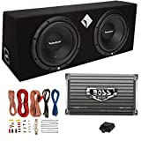 Rockford Fosgate R1-2X10 10 inch 800 Watt Loaded Enclosure with Dual Subwoofers and Boss AR1500M Mono Amplifier with 8 Gauge Wiring Installation Kit