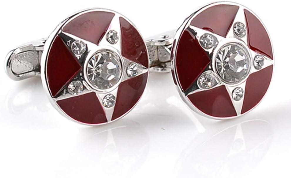DJASM Pentagram Cufflink Business French Shirt Cuff Links Red Enamel Rhinestone Round Cuff Buttons