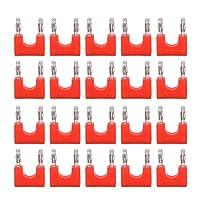 デュアルチップオーディオアダプタコネクタバナナプラグ20個スピーカーワイヤー用医療産業用防湿真ちゅう(red)