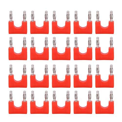 Conector banana doble, conector adaptador de audio en forma de U, conector banana rojo de latón, 20 piezas a prueba de humedad, doble banana afilado para cables de altavoz de placa(red)