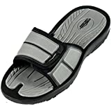 SLR Brands Mens adjustable sandals - Shower Flip Flops For Men   Nonslip Men's Slide On Sandals for Shower, Beach, Pool, Summer, Gym Slides   Arch Suport for Athletes   Multiple sizes and colors (8 M US, Grey)