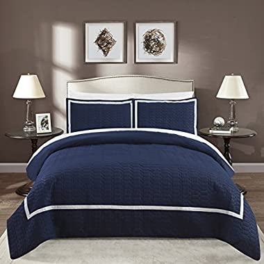 Chic Home Faige 3 Piece Duvet Cover Set Hotel Collection Two Tone Banded Print Zipper Closure Bedding - Decorative Pillow Shams Included Queen Navy