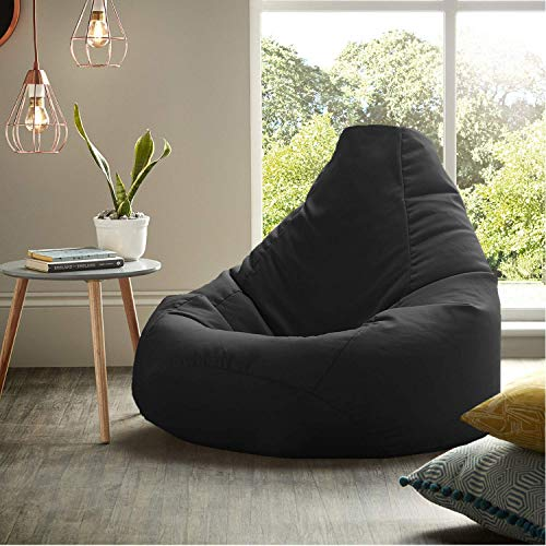 Ink Craft Bean Bag Chair Cover Without Beans for Bedroom Living Room, Office & Home - (30.1 x 28.6 x 2.8 cm, Black, XL)