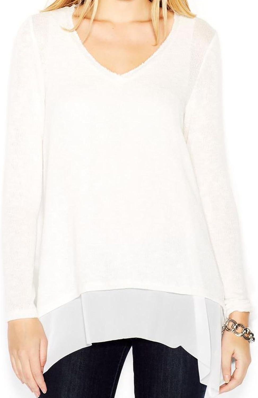 Bar III Womens Knit 2Fer Dress Top Ivory L