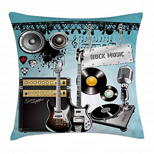 Funda de cojín Rock Music Throw Pillow, Guitarras y Discos con diseño de Conrt con arreglos Ornamentales de Altavoces Gigantes, Funda de Almohada Decorativa Cuadrada Acnt, 45x45cm, Multicolor