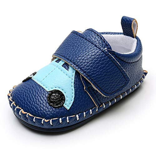 Lidiano Baby Non Slip Rubber Sole Cartoon First Walking Slippers Crib Shoes Newborn Infant Toddler Training Shoes (12-18 Months, Blue Car)