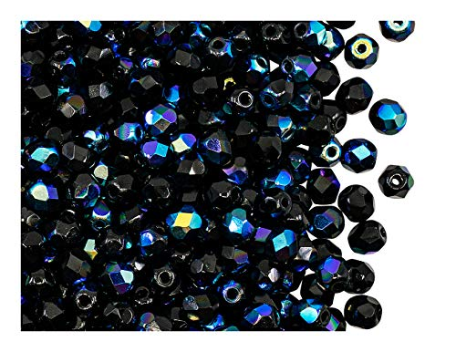 Fire Polished Beads 100 PCS Perline tonde lucidate a Fuoco 4mm, Jet Black Ab, Vetro Ceco