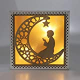 Gpzj Islam Holzlaterne Ramadan Dekorationen, Eid Mubarak Dekor Muslim Moon mit Person Candle Light...