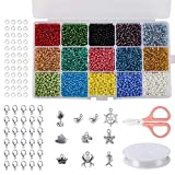 Naler 7500 Stück Rocailles Glasperlen 15 Farben Rund Perlen mit Charms Anhängern zum Basteln, 3 mm
