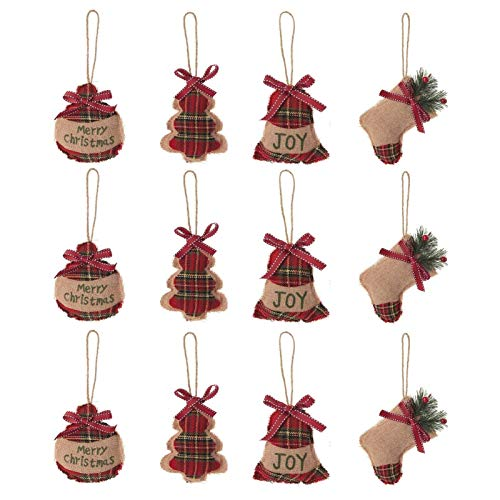 UWIOFF 12 Pack Rustic Christmas Tree Ornaments Stocking Decorations Cute Burlap Country Christmas Hanging Decoration Stocking Ball Tree Bell Plaid Ornaments for Christmas Tree Party Holiday Decor