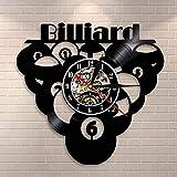 Reloj de pared de vinilo para billar, diseño de billar, estilo vintage, para decoración del hogar