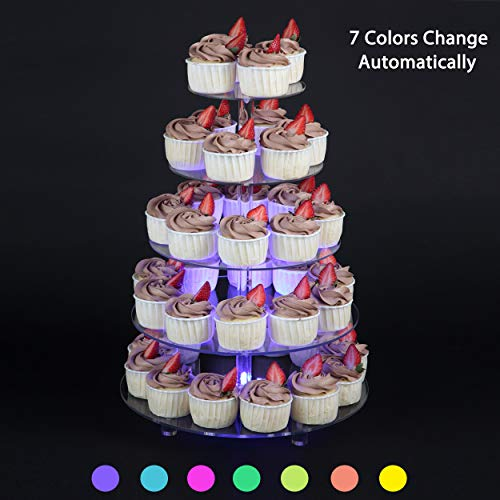 Sumerflos 7 Color-Changing Cupcake Stand - 5 Tier Clear Acrylic Dessert Tree Tower with LED Light - Wedding, Party, and Baby Shower Cake Pastry Display Holder (Round)