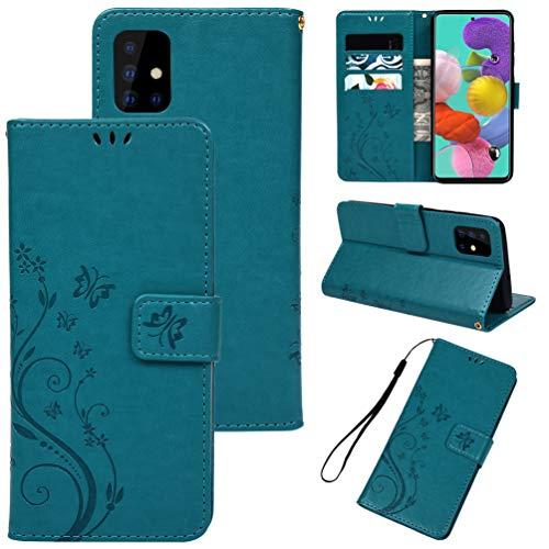 Yiscase Hülle für Samsung Galaxy A51 5G Lederhülle, PU Leder Filp Wallet Handyhülle Flipcase: Schmetterling Blumen Geprägt Multifunktionale Tasche Cover Brieftasche Schutzhülle - Blau