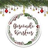 None-brands Merry Christmas in afrikaans Geseende Kersfees - Albero di memoria rotondo, ornamento in ceramica