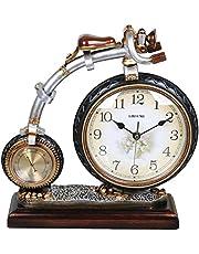 SESO UK- Reloj creativo retro del manto / del mantle con el termómetro Reloj del escritorio de la bicicleta de la resina del ritmo Decoración ( Color : Bronce )
