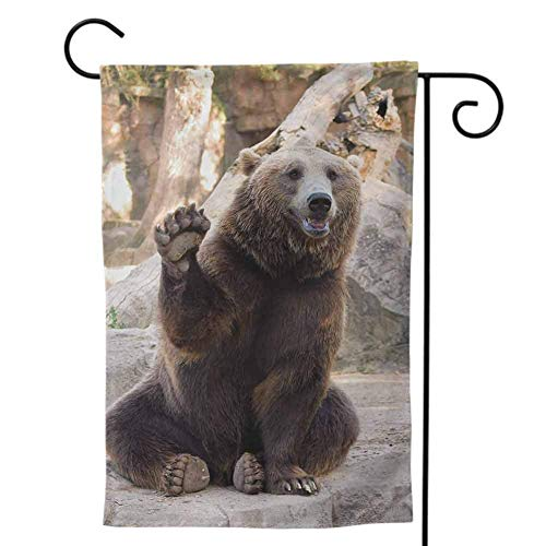 Garden Flags Double-Sided Polyester Outdoor Yard Flag Weather ResistantStitched Bear Angry Scary Face Powerful Vicious Beast Mascot Cartoon Character with Fangs Caramel Dark Brown Decorative 12x18