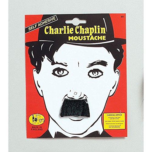 New Black Charlie Chaplin Moustache Fancy Dress (accesorio de disfraz)