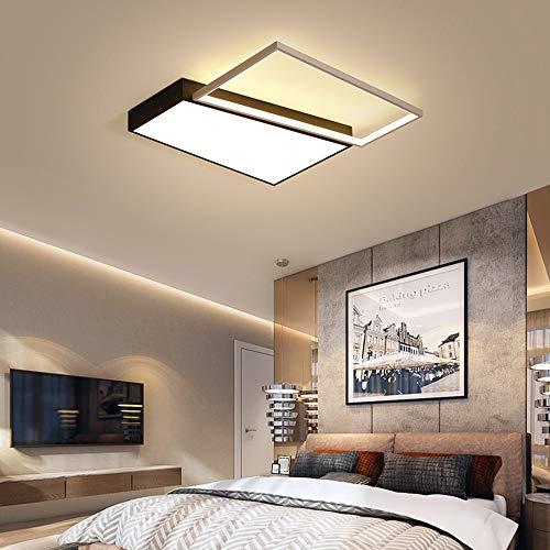MGWA Luz de Techo Marco Moderno de iluminación Inicio Plaza de Techo Blanca Regulable LED de la lámpara Rectangular Oficina Lámpara y Negro con Control Remoto (Color : White Light)