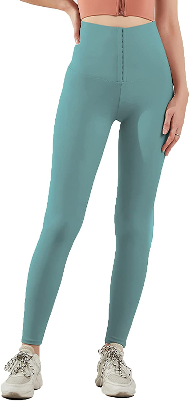 Hard Disk Pantalones de Yoga Cintura Alta, Control de la Barriga Elevación a Tope Leggins, Diseño de Botonadura Sexy Leggins Deportivos de Secado Rápido para Correr, Boxeo, Fitness, Yoga,Verde,C