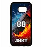Galaxy S7 Edge Case, ArtsyCase Thunder Water Fire Hockey Puck Personalized Name Number Phone Case for Samsung Galaxy S7 Edge (Black)