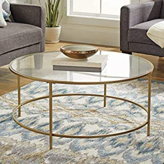 Better Homes and Gardens Nola Safety-Tempered Glass Top Coffee Table - Gold Finish