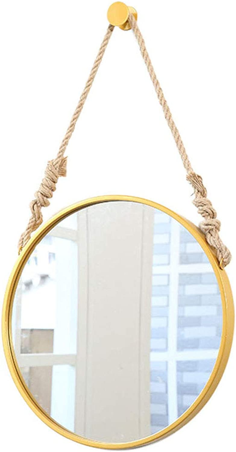 Wall Mount Round Mirror Modern Framed Mirror Wall-Mounted Hemp Rope Wall Round Mirror for Bathroom, Bedroom and Living Room