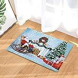 ZZ7379SL Fondo Azul Claro, Agujas de Pino Verde, Estufa Blanca, Cinta roja, Silla marrón, Caja de Regalo Blanca roja, Zapatos de Cuero Negro, Vestido Rojo, Santa Claus con Sombrero Rojo