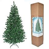 SHATCHI Árbol de Navidad Artificial Tradicional Verde de 1,5 m con Soporte de Metal para decoración del hogar, Plástico, 6 pies