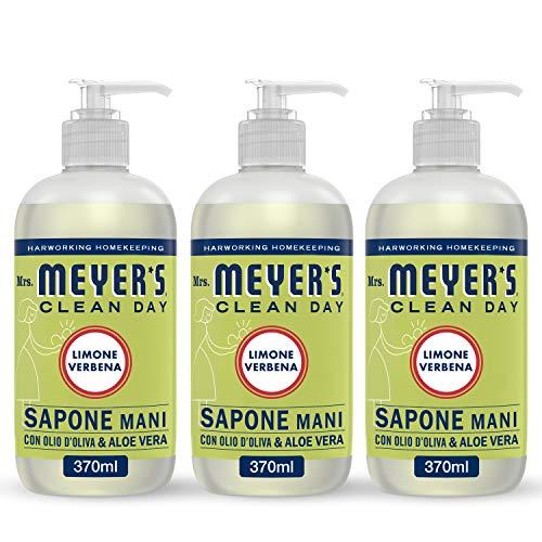 MRS MEYERS Clean Day Sapone Liquido Mani, Fragranza Limone & Verbena, Prodotti creati con Oli essenziali, 3 x 370 ml