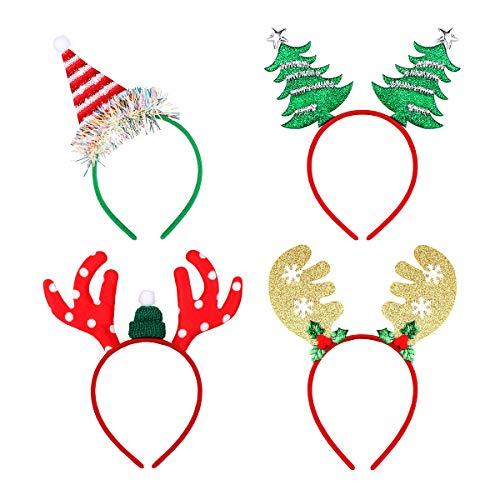 Amosfun 4 Stücke Glitzer Weihnachtsmütze Weihnachtsbaum und Rentier Geweih Haarreif Weihnachten Haarschmuck Kopfschmuck Kopfbedeckung Kinder Erwachsene Party Kostüm Zubehör