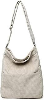 Ulisty Damen Cord Grosse Kapazität Schultertasche Lässige Handtasche Mode Einkaufstasche Umhängetasche Aprikose