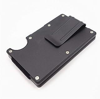 RFID Blocking Metal Wallet Slim Minimalist Credit Card Holder Money Clip - Black