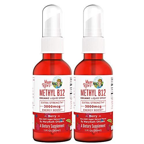 Organic Vitamin B12 (Methyl) Liquid Sublingual Spray by MaryRuth's Energy Boost - 0 Sugar - Non-GMO Vegan - Gluten Free - Paleo - Bariatric & Celiac Glass Bottle 1oz-3000 mcg (Extra Strength 2 Pack)