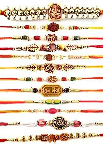 Rakhi Festival Rakhi Multicolor Rakhi para hermanos   Rakhi Combo de 12 con Roli y Chawal (Pack de 12) para personalización y regalo gratis Whatsapp +918443030001
