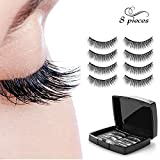 Magnetic eyelashes No Glue Needed Premium Quality 3D Reusable Lashes Extension 0.2mm Ultra Thin Dual Magnets lashes,Natural Look 4 Pair/8 Pieces (1C)