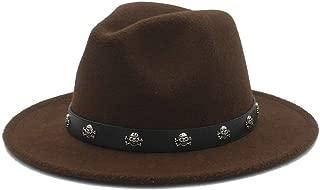 SHENTIANWEI Men Women Fedora Hat with Skull Rivet Panama Hat Pop Wide Brim Jazz Hat Church Fascinator Hat Size 56-58CM