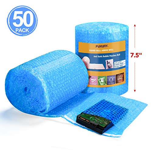 Fuxury Blue Anti-Static Bubble Pouches 7.5x7.5 Inch,2 Rolls 50 Packs Total Anti-Static Bubble Cushioning Wrap Pouch Bag Roll Bubble Bags Pouches