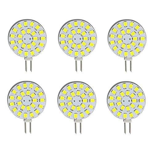 Gmasuber Bombilla LED G4 de 2 W con pin lateral, 6000 K, no regulable, DC12 V, 24 LED 2835 SMD, ángulo de haz de 120°, paquete de 6