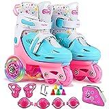 Patins à roulettes Roller Quad réglables pour Enfants et Adolescents, Chaussure Roller Roues Lumineuses idéal pour Débutants Patinage Filles et Garçons en Extérieur en Intérieur, Rose