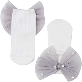 Loalirando Calcetines Cortos Niña Bebé con Bowknot Calcetines de Baby Girl Princesa Pequeñas con Ribete de Encaje y Volantes para Niñas 1-8 Años
